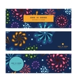 holiday fireworks horizontal banners set pattern vector image vector image