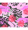 bright pink scribble seamless pattern with flowers vector image