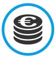 Euro Coins Column Rounded Icon vector image