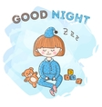 sleeping girl with toys poster Little kid vector image