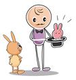 A bunny and a magician vector image