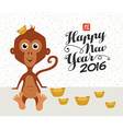 Chinese new year 2016 monkey ingot cute funny vector image