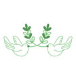 silhouette cute doves animal with branches to vector image