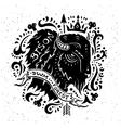 vintage grunge label with bison vector image
