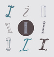Original letters I set isolated on light gray vector image