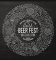 set of beer fest cartoon doodle objects round vector image