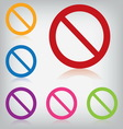 pack colorful sign forbidden isolated vector image