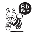 B Bee cartoon and alphabet for children to vector image