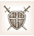 Shield and sword sketch style vector image