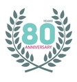 Template Logo 80 Anniversary in Laurel Wreath vector image