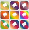 storm icon Nine buttons with bright gradients for vector image
