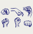 Set of many different hands vector image