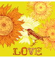bird and sunflowers vector image