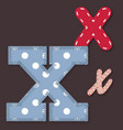 Set of stitched font - Letter X vector image