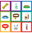 flat icon animal set of cat eating hound necklac vector image vector image