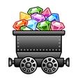 Iron mine cart with diamonds vector image