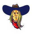 Long Hair Cowboy vector image