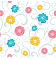 Colorful Flowers on Swirly Braches Seamless vector image