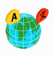 Globe with location marks icon isometric 3d style vector image