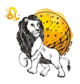 Leo zodiac signHoroscope circleWatercolor splash vector image
