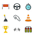 motor race icons set flat style vector image