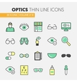 Optician Thin Line Icons Set with Optometry vector image