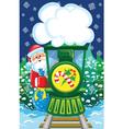 Santa goes by christmas train vector image