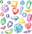Set of precious stones of different cuts and vector image