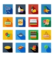 Supermarket Flat Shadow Icons In Colorful Squares vector image