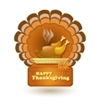Thanksgiving roast turkey isolated on white vector image