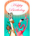 happy birthday card with funny animals vector image