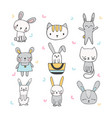 set of cute hand drawn bunnies and cats vector image
