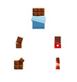 flat icon sweet set of cocoa chocolate bitter vector image