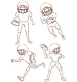 Plain sketches of the American football players vector image