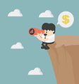 businessman looking on cliff vector image