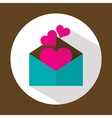 Valentine letter flat icon with long shadow vector image vector image