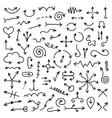 big set of black hand drawn arrows vector image