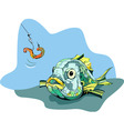 hungry fish hunts a worm vector image