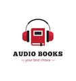 Modern audio books store logo Red book and vector image