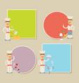 chef presenting recipe card flat set vector image