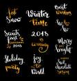 christmas hand drawn lettering design set vector image