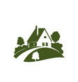 green house icon with garden tree plant and lawn vector image