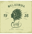 Old label with indian cheif head in profile vector image