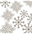 set snowflakes christmas differents icons vector image