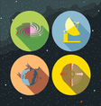 Space icons set with stars and galaxies vector image