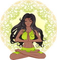 The African American girl with long hair sitting vector image