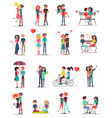dating of couples in love collection on white vector image