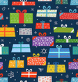 Different color gift boxes seamless background vector image