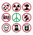No nuclear weapon no war no bombs warning signs vector image