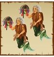 Two character fish men with tail and deity vector image